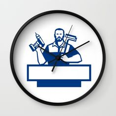 Handyman Bearded Cordless Drill Paintroller Retro Wall Clock. Illustration of a handyman with beard moustache facial hair holding paint roller on shoulder and cordless drill viewed from front set on isolated white background done in retro style. #illustration #handymanbearded