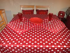 Red Heart Table Cloth and 2 Placemats..