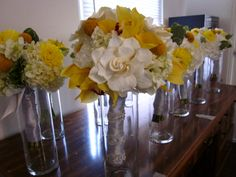 hydrangeas and dahilas with billy balls and succulants | ... hydrangea and yellow billy balls but had yellow dahlias and green