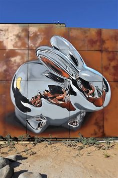 """Chrome Rabbit"", new Street Art by Bikismo spotted in Dubai, UAE. #StreetArt #Graffiti #Mural #Dubai"
