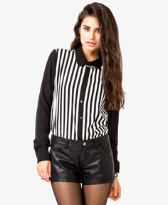 $19.80   Striped Georgette Shirt | FOREVER21 - 2040494879