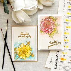 Hero Arts | 4 Bar Watercolor Floral Cards Artistic Dahlia + Antique Rose Stem woodblock stamps & Daniel Smith Watercolors (fav, wc5)