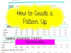 Do you love a pattern, but it doesn't come in your size? This shows you how to grade a pattern up the easy way.