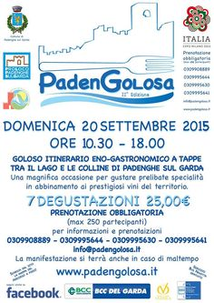 Sunday, the 20th September, from 10:30 a.m. to 6:00 p.m., Padengolosa, the multi-leg enogastronomic walk among Padenghe's restaurants and producers, returns to town. After the success of the 2014 first edition, the event comes back in a new guise, proposing the interested gourmands an 8-leg tour.  The menu kicks off at the Taperia Cerveceria Olè, with