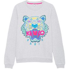 KENZO Tiger Head Multi Heather Grey // Embroidered sweatshirt ($235) ❤ liked on Polyvore featuring tops, hoodies, sweatshirts, crew-neck sweatshirts, kenzo, embroidery top, kenzo sweatshirt and heather gray sweatshirt