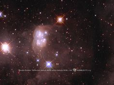 Within nebula DEM L 106 is a second nebula, N30B. The peanut-shaped cocoon of dust, called a reflection nebula, surrounds a cluster of young, hot stars. The bright, supergiant star at the top of the picture illuminates the dusty cocoon. Wispy filaments from DEM L 106 fill the rest of the image.