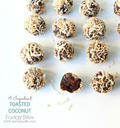 4 Ingredient TOASTED COCONUT Fudgy Bites - This recipe is vegan, gluten free, no-bake, contains only 4 ingredients, no added sugar, is super easy and fast to make.