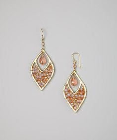 Look what I found on #zulily! Pink Beaded Teardrop Earrings by PANNEE JEWELRY #zulilyfinds