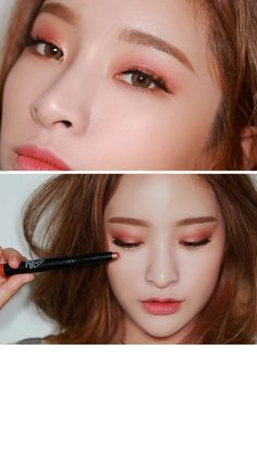 orange and rose gold make up Pony Makeup, Kiss Makeup, Beauty Makeup, Korean Makeup Look, Asian Eye Makeup, Makeup Inspo, Makeup Inspiration, Thin Eyeliner, Peach Makeup
