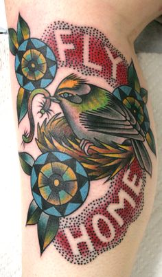 bird fly home tattoo  looks like a Sarah Schor design... not sure though