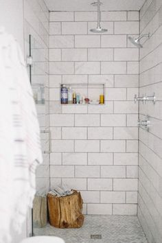"""6""""x12"""" honed Carrara marble tiles on the walls, polished Carrara marble in a…"""