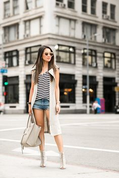 Summer Still :: Silk stripes & Canvas vest