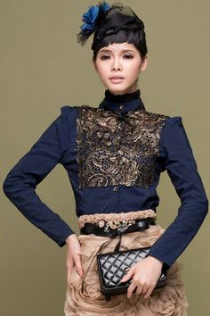 #ROMWE Golden Floral Embroidered Buttoned Blue Shirt