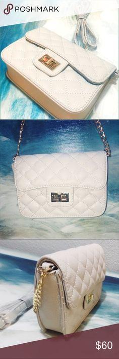 Leather Crossbody Bag Leather Crossbody Bag with Gold Chain & Lock Closure NWT Deux Lux Bags Crossbody Bags