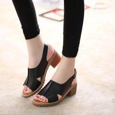 2020 Summer New Women's Sandals Roman Women's Shoes Chunky Heel Middle Heel Mid Heel Sandals, Leather Sandals, Slip On Sneakers, Slip On Shoes, Women's Shoes, Thick Heels, Chunky Heels, Vans Slip On Black, Modern Vintage Fashion