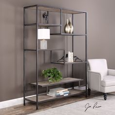 The six-shelf Sherwin etagere offers fun display options with staggered multi-level shelving. The industrial chic design features reclaimed pine shelves framed in iron with an aged black finish. Decor, Industrial Interior, Uttermost Furniture, Furniture, Contemporary Furnishings, Shelves, Shelving, Home Decor, Industrial Wall Decor