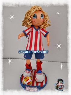 muñeca-goma-eva-muñeca-extremeña Muñequitas de goma eva Creacionesreme fofucha atletico de Madrid #fofucha #atleticodemadrid #futbol