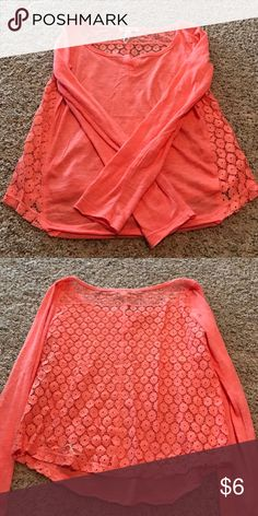 Long sleeve light orange top with lace back Completely adore top. Like new condition Aeropostale Tops Tees - Long Sleeve