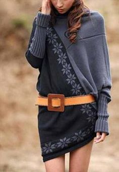 gray sweater dress w/ belt. Looks like two different sweaters put together