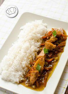 receta de Pollo con puerros y arroz Thai. Thai rice and chicken