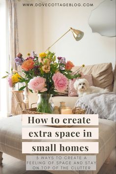How to make your home look bigger and make extra space in your home by using clever tips and tricks of the eye. Choosing storage wisely and having the right type of furniture and colour schemes in your home can make a small house look bigger Simple Living Room Decor, Types Of Furniture, Furniture Ideas, Under Stairs Cupboard, Small Room Design, Space Saving Storage, Colour Schemes, Clever Tips, Small Homes