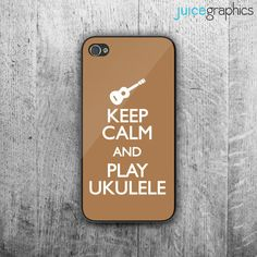 Keep Calm and PLAY UKULELE phone case. Case For - iPhone 4/4S - iPhone 5/5S - iPhone 5C - iPhone 6 - iPhone 6 Plus. Novelty. Gift.