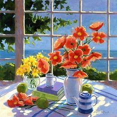 Amapolas rojas y manzanas verdes por Suzanne Hoefler Blue Artwork, Purple Themes, Cottage Art, Sky Art, Le Jolie, Window Art, Red Poppies, Decoration, Painting & Drawing