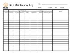 Skutt Kiln Maintenance Log Pottery Kiln, Pottery Patterns, Pottery Videos, Pottery Techniques, Ceramics Projects, Pottery Studio, Names, Templates, Tutorials