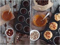Chciałam po prostu czegoś słodkiego, kremowego i jednocześnie chrupiącego. I tak powstały babeczki czekoladowe z kemem karmelowym i orzechami.