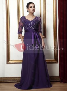 Delicate Plus Size Mother Of The Bride Dresses With Appliques Crystals Purple Ribbon A Line V-Neck 1/2Long Sleeves Floor Length Chiffon Gown