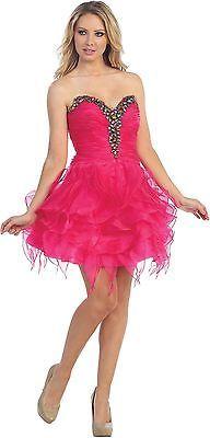 Ruffles Strapless Sweetheart Fun Bright Mini Dress Plus Sizes Sheer Rouching | eBay