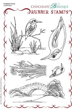 Kingfisher Song  Rubber Stamp sheet - A5