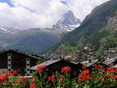 The beauty of Zermatt Switzerland is indescribable.  Every window has  a beautiful flower box of geramiums with the Materhorn in the background