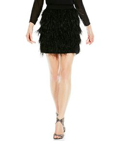 FEATHER TIERED MINISKIRT - perfect for holiday parties or New Year's Eve!