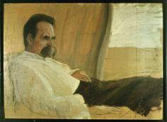 Une esquisse 1889 d'huile de Friedrich Nietzsche sur son lit de malade par Hans Johann Wilhelm Olde.