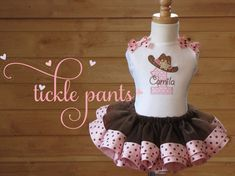 YeeHaw Cowgirl Birthday TutuOutfit Pink and brown por TicklePants