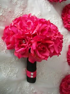 hot pink wedding bouquets | Hot Pink Silk Rose Bridal Wedding Destination by modagefloral