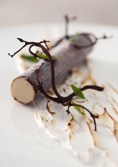 """""""Birch Tree"""" with malt branches and Autumn leaves on baked meringue. By Nordic Star Chef Ronny Emborg of Restaurant AOC in Copenhagen. See more of his dishes at bon-vivant.dk/..."""
