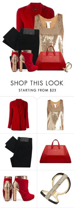 """Enter contest Save Draft Open New       WomenMenHomeMy ItemsCollectionsContestred blazer×gold×Bags×gold glitter× Chunky Glitter Heels from Michael Antonio Mills"" by cassandra-cafone-wright ❤ liked on Polyvore featuring Joseph, MaxMara, Cheap Monday, Michael Antonio and Thalia Sodi"