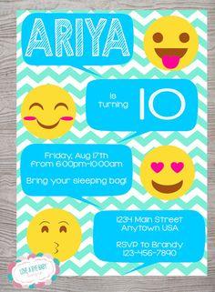 Emoticonos Emoji inspiraron invitación de fiesta de cumpleaños. para imprimir. descarga digital