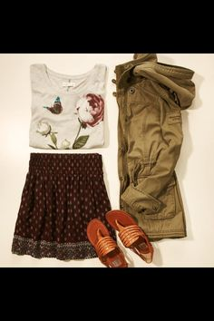 Cute, but I would change from sandals to boots. Abercrombie and Fitch.