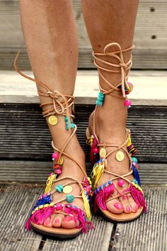 Tie up gladiator Sandals Tahiti handmade to by ElinaLinardaki