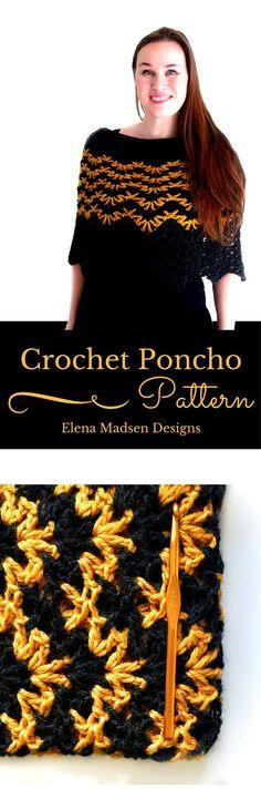 Crochet poncho in lovely chevron stripes. Easier than it looks! Crochet poncho pattern for women....5 sizes