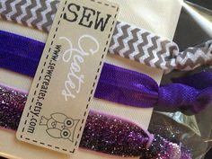 Purple & Silver Trio Elastic Hair Tie/ Bracelet by sewcreates, $5.00