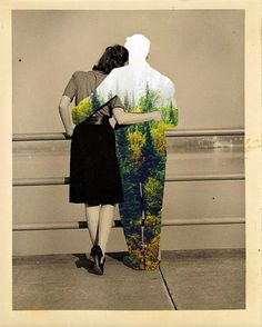 Colorful Elements from Nature Seamlessly Blended Into Vintage Photographs - My Modern Met
