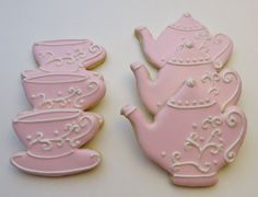 Pink Tea set decorated cookie favors
