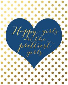 Navy and gold wall art  Happy Girls are the by wallandwonder