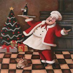 Happy Fat Santa Chef & Cat Christmas Holiday Theme