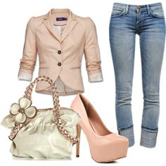 pink blazer and jeans, created by paulette-lanni on Polyvore