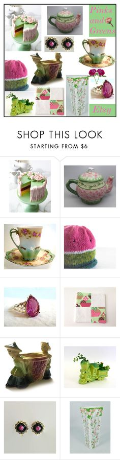 """Etsy Pinks and Greens"" by muskrosevintage ❤ liked on Polyvore featuring Sweet Lady Jane and vintage"